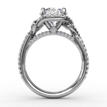 Contemporary Round Diamond Halo Engagement Ring With Couture Details