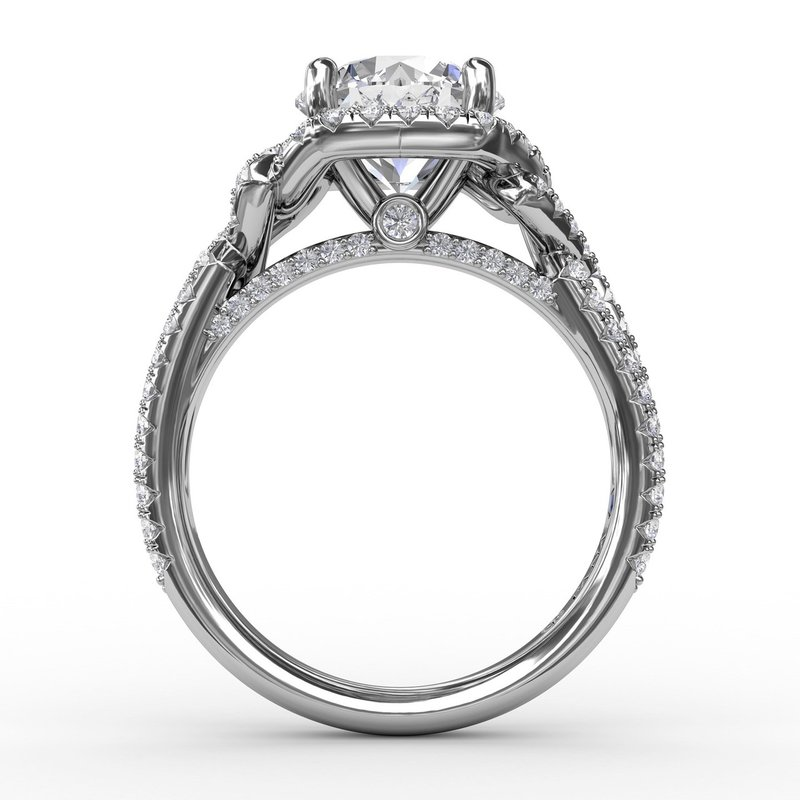 Fana Contemporary Round Diamond Halo Engagement Ring With Couture Details