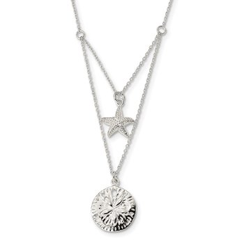 Sterling Silver Starfish and Sand Dollar 18 inch 2-strand Necklace