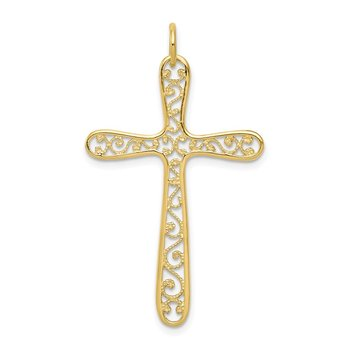 10k Polished Filigree Cross Pendant