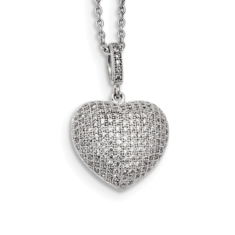 Brilliant Embers Sterling Silver Rhodium-plated Polished CZ Teardrop Pendant Necklace 18 2 Extender