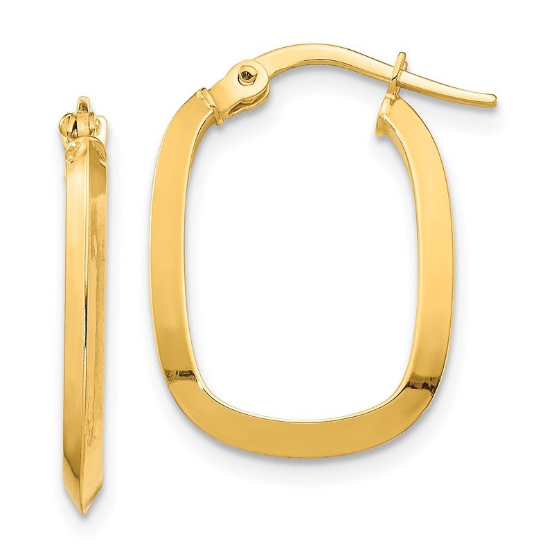 Quality Gold 14K Small 2x2mm Knife Edge Oval Hoop Earrings