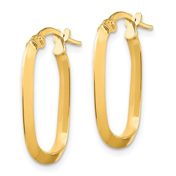 14K Small 2x2mm Knife Edge Oval Hoop Earrings