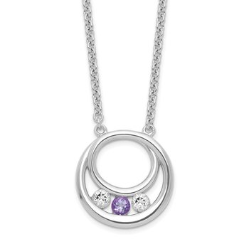 Sterling Silver Survivor Clear & Purple Swarovski Topaz Circle of Hope Neck