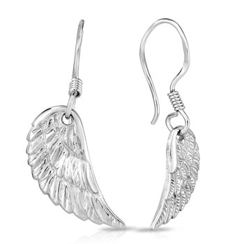 Silver Angel Wing Drop Earrings