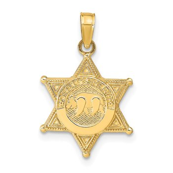 14k DEPUTY SHERIFF Badge with Bear Pendant