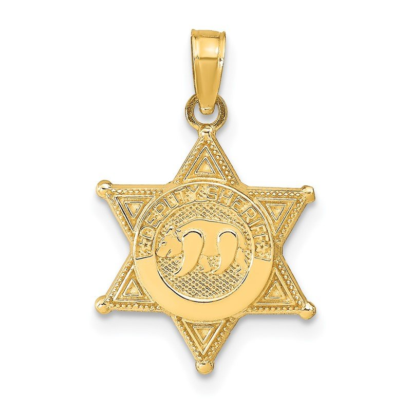 Quality Gold 14k DEPUTY SHERIFF Badge with Bear Pendant