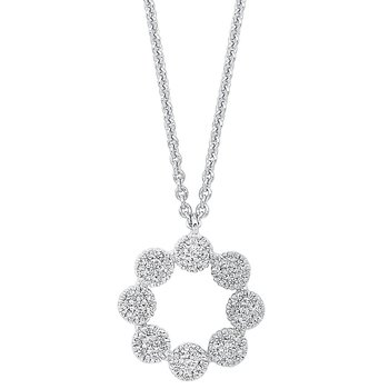 Diamond Halo Cluster Eternity Wreath Pendant Necklace in 14k White Gold (1/7 ctw)