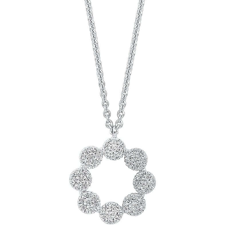 Gems One Diamond Halo Cluster Eternity Wreath Pendant Necklace in 14k White Gold (1/7 ctw)