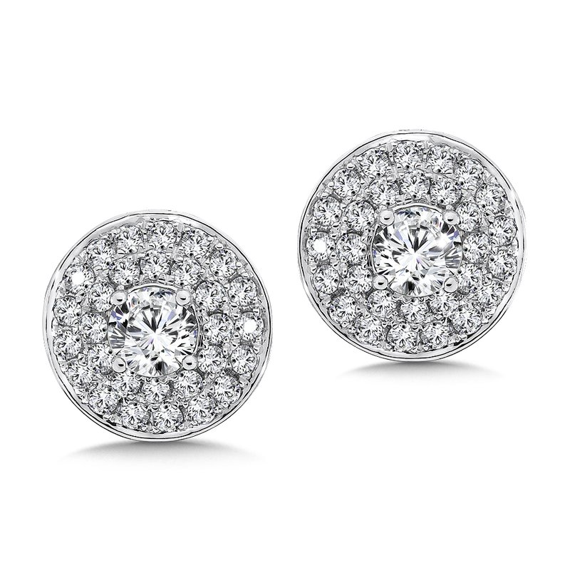 Caro74 Diamond Double Round Halo Studs in14K White Gold with Platinum Post (1ct. tw.)
