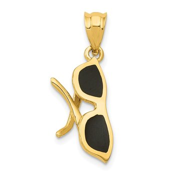 14k Solid 3-Dimensional Black Enameled Sunglasses Charm