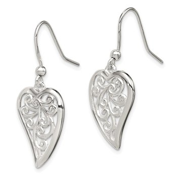 Sterling Silver Polished Filigree Heart Shepherd Hook Earrings