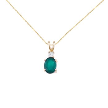 14K Yellow Gold Oval Emerald & Diamond Pendant