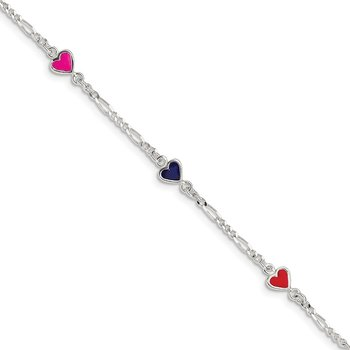 Sterling Silver Enamel Multicolored Heart Childs 5in Plus 1in ext Bracelet