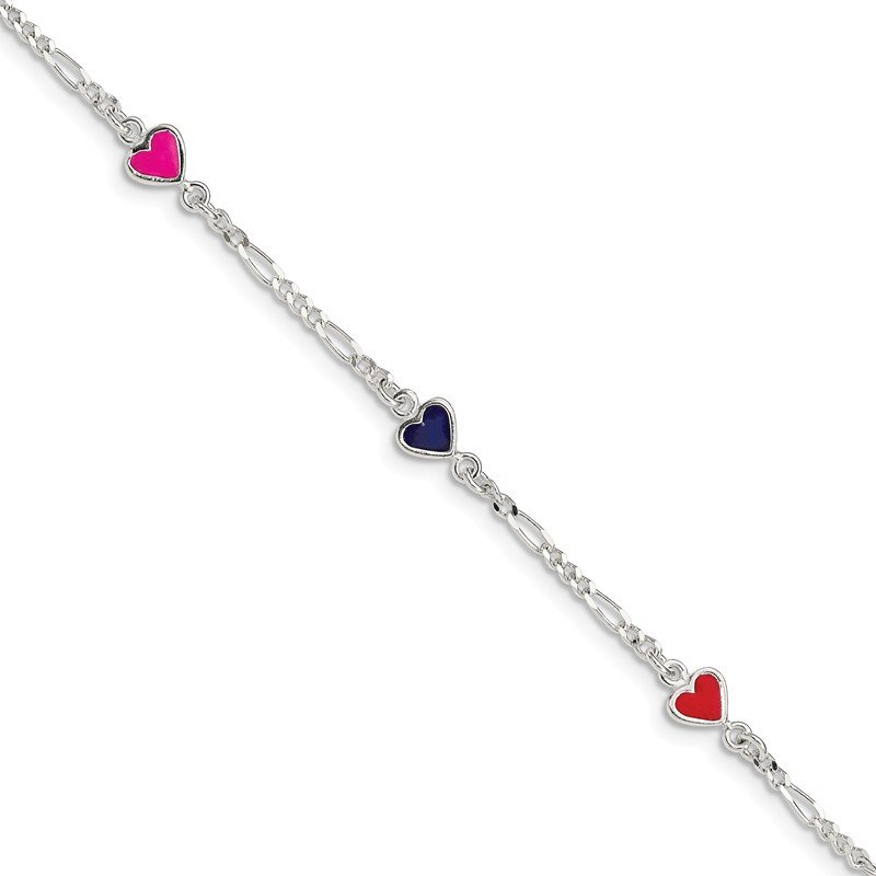 Quality Gold Sterling Silver Enamel Multicolored Heart Child's Bracelet
