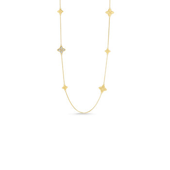 18KT GOLD STATION NECKLACE WITH DIAMONDS