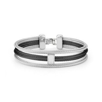 Black & Grey Cable Petite 3 Row Simple Stack Bracelet with 18kt White Gold &  Diamonds