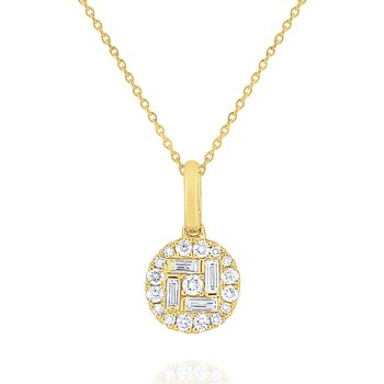 Diamond Metropolis Disc Pendant Set in 14 Kt. Gold