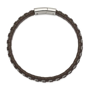 Stainless Steel Polished Cable and Brown Leather 8.75in Bracelet