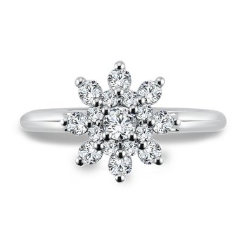 Diamond Halo Engagement Ring in 14K White Gold with Platinum Head (.70 ct. tw.)
