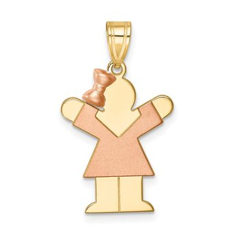 14k Two-Tone Small Girl w/ Bow on Left Engravable Charm