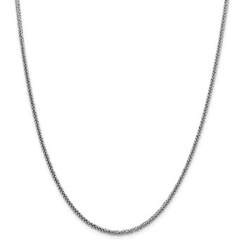 14k WG 2.35mm Semi-solid 3-Wire Wheat Chain