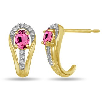 10K YG and diamond and Pink Tourmaline halo style birthstone earring