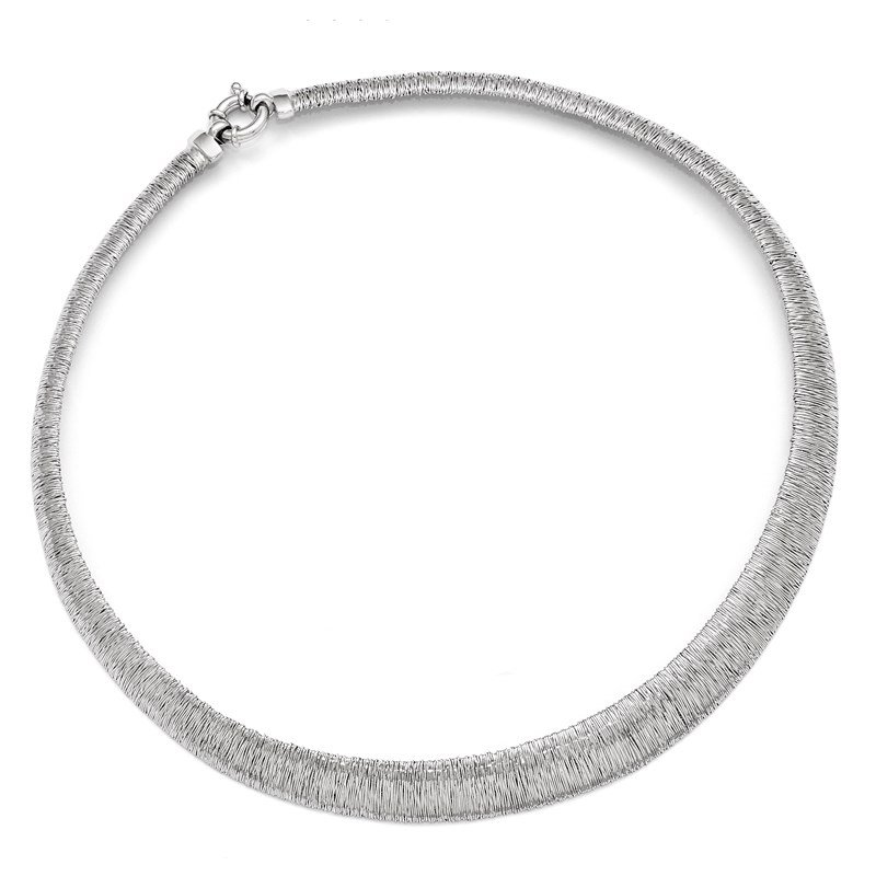 Leslie's Leslie's Sterling Silver Polished and Textured Graduated Neck Collar
