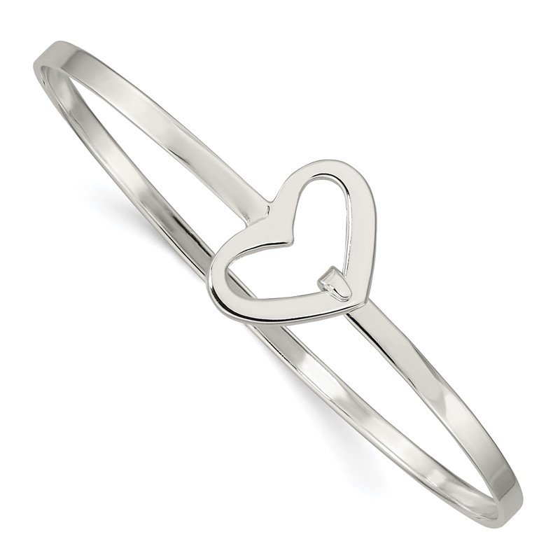 Quality Gold Sterling Silver Heart Bangle