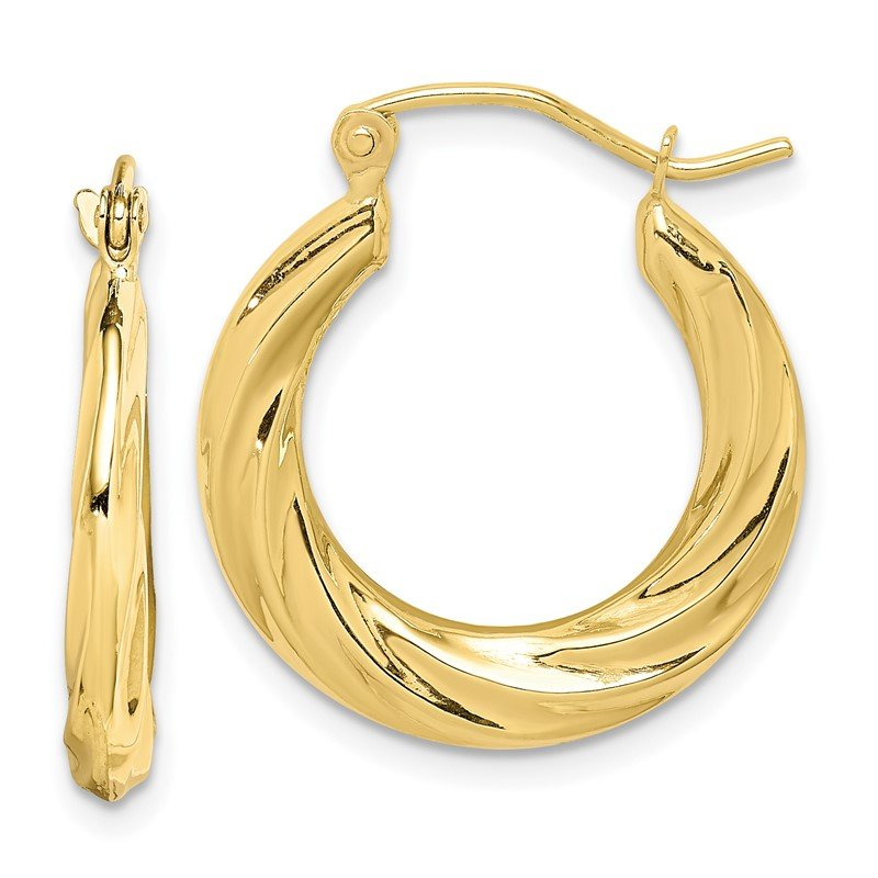 Quality Gold 10k Fancy Small Hoop Earrings