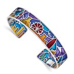 Quality Gold Sterling Silver Rhod-plated Mosaic Multicolor Enamel London Cuff Bangle