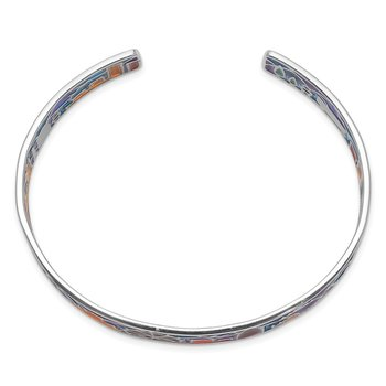 Sterling Silver Rhod-plated Mosaic Multicolor Enamel London Cuff Bangle