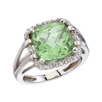 14K White Gold 10 mm Green Amethyst and Diamond Rope Ring
