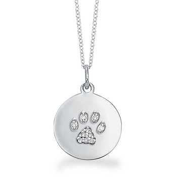 Diamond Disc Necklace With Dog Paw in 14k White Gold with 10 Diamonds weighing .07ct tw.