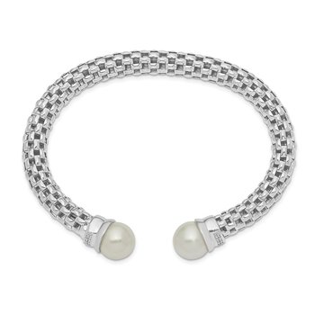 Sterling Silver Polished Rhod-plated Imitation Shell Pearl CZ Cuff Bangle