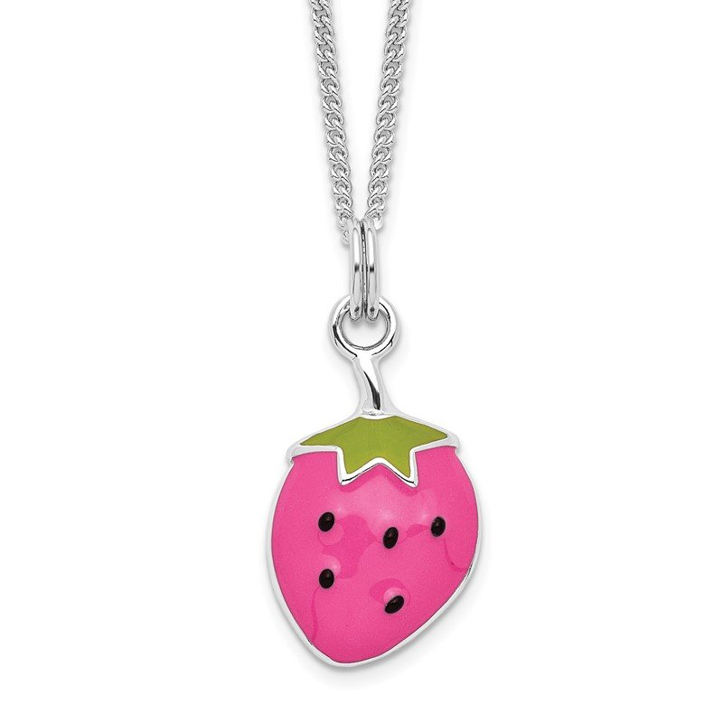 Quality Gold Sterling Silver Rhodium-plated Enamel Strawberry 15.75in Necklace