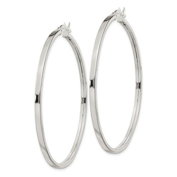 Sterling Silver 2.5x50mm Polished Hoop Earrings
