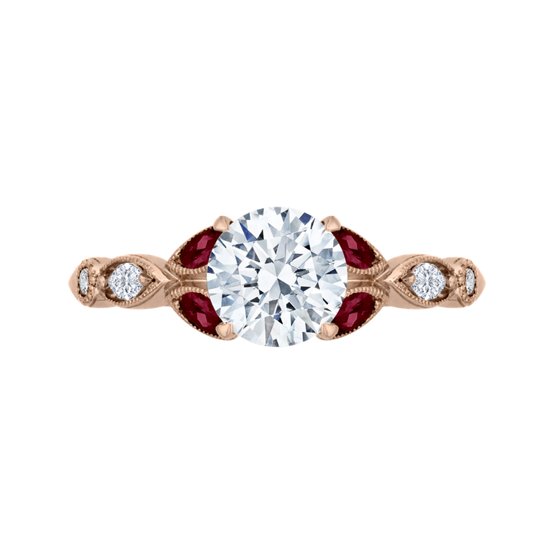 Carizza 14K Rose Gold Round Diamond and Ruby Engagement Ring (Semi-Mount)