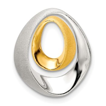 Sterling Silver Gold-plated Satin/Polished Teardrop Slide