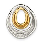 Quality Gold Sterling Silver Gold-plated Satin/Polished Teardrop Slide