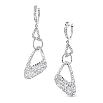 Diamond Modern Fashion Earrings in 14K White Gold with 206 Diamonds Weighing  1.70ct tw
