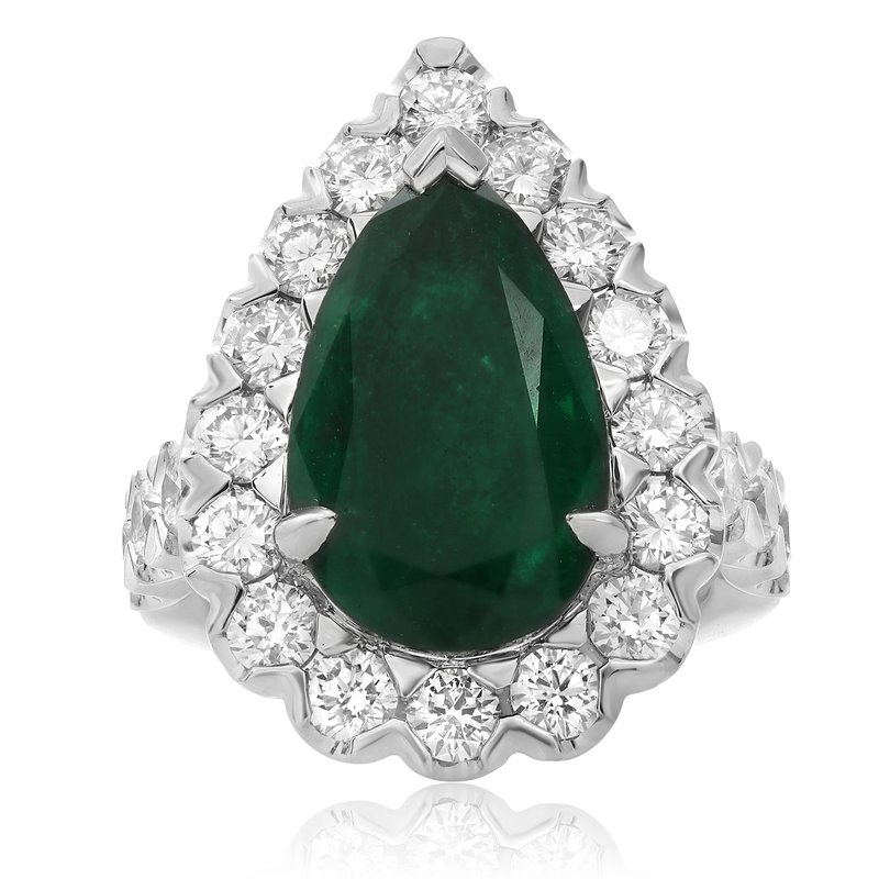 Roman & Jules Pear-shaped Emerald & Diamond Halo Ring