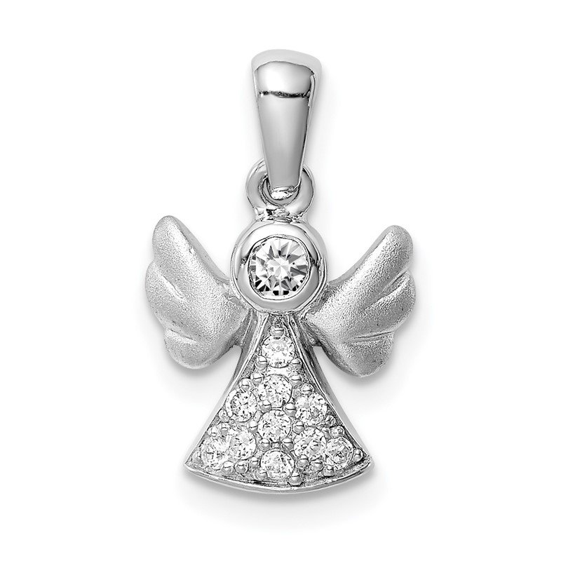 Quality Gold Sterling Silver Rhodium-plated CZ Satin Angel Pendant
