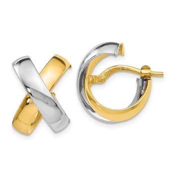Leslie's 14K Two-tone Polished Hinged Hoop Earrings