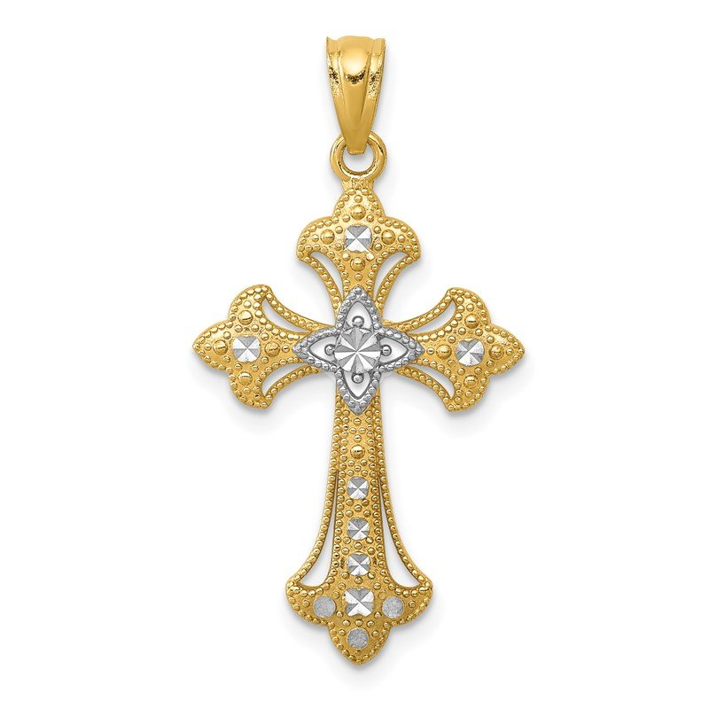 Quality Gold 14K w/Rhodium Diamond-Cut Cross Pendant