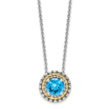 Sterling Silver w/ 14K Accent Light Swiss Blue Topaz Round Necklace