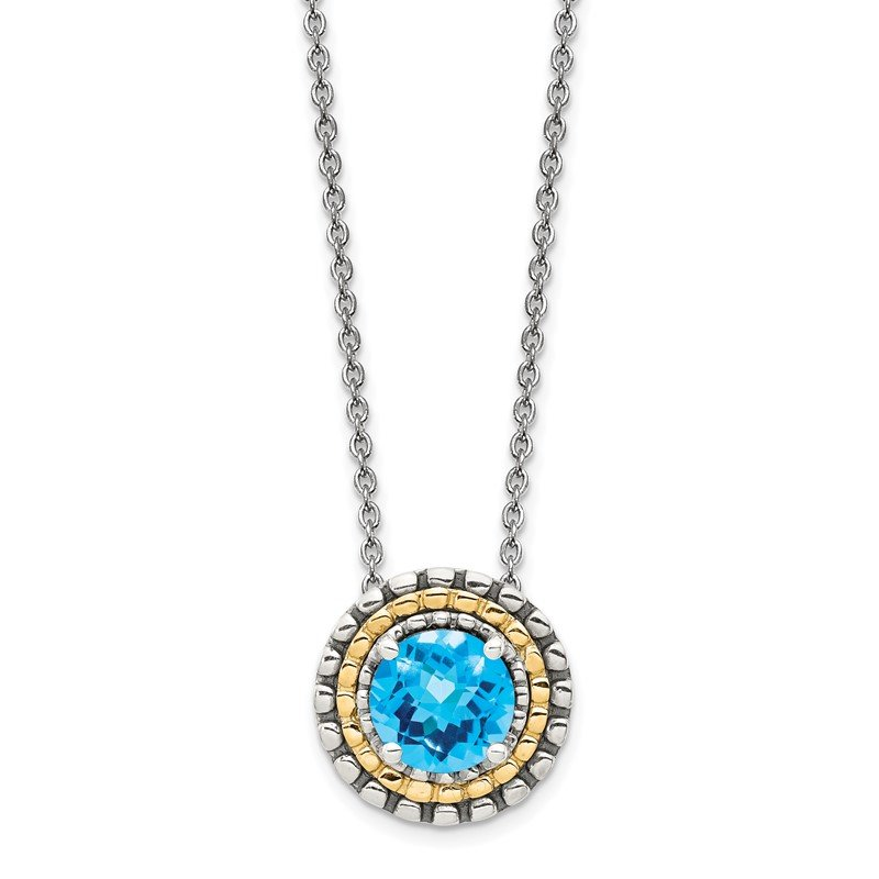 J.F. Kruse Signature Collection Sterling Silver w/ 14K Accent Light Swiss Blue Topaz Round Necklace