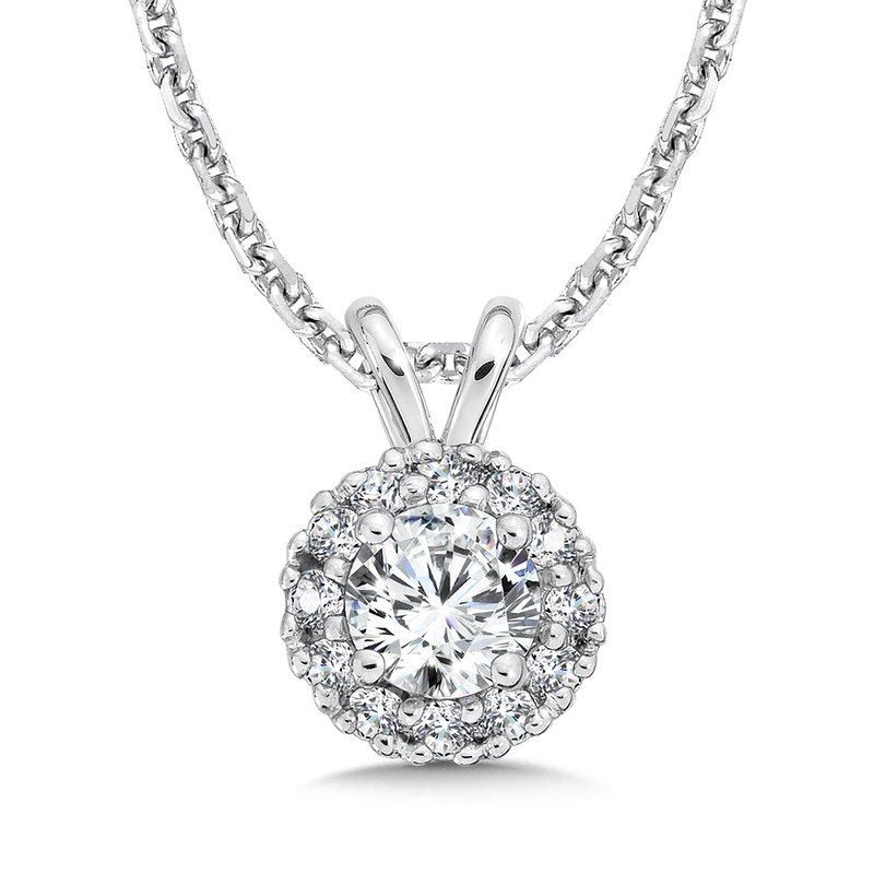 Caro74 Diamond Round Halo Pendant with Split Bale in 14K White Gold (1/3ct. tw.)