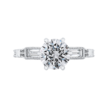 18K White Gold Round and Baguette Diamond Engagement Ring (Semi-Mount)