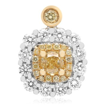 Double Halo Yellow Diamond Pendant